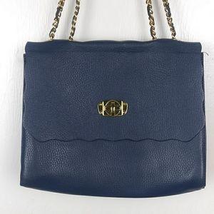 Dark Blue Leather Shoulder Bag Chain Straps